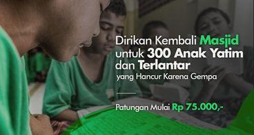 Bantu 300 Yatim Dhuafa Lombok Bangun Masjid