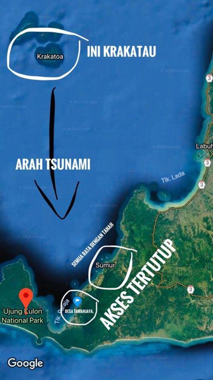Letak Desa Tamanjaya tepat searah lurus dengan Krakatau